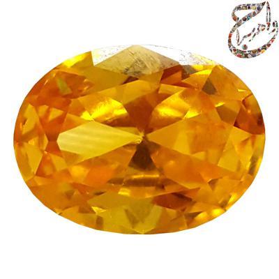 نگین انگشتری سیترین طلایی معدنی