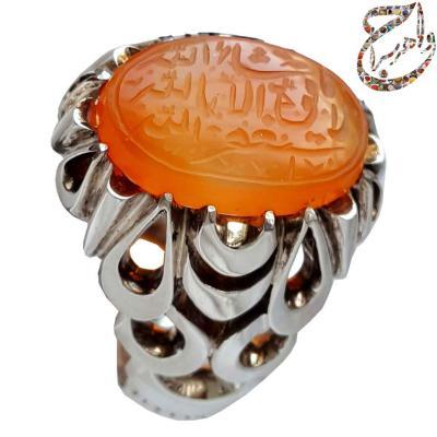 انگشتر عقیق پرتقالی خط شهید حاج حسین حکاکان