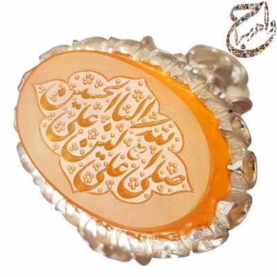 عقیق پرتقالی یمنی خط استاد ربیع