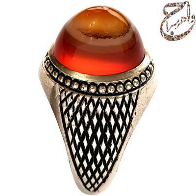 عقیق سرخ سلیمانی رکاب نقره دست ساز