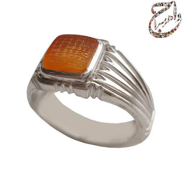 انگشتر حلقه ازدواج عقیق چهارگوش مزین به شرف الشمس