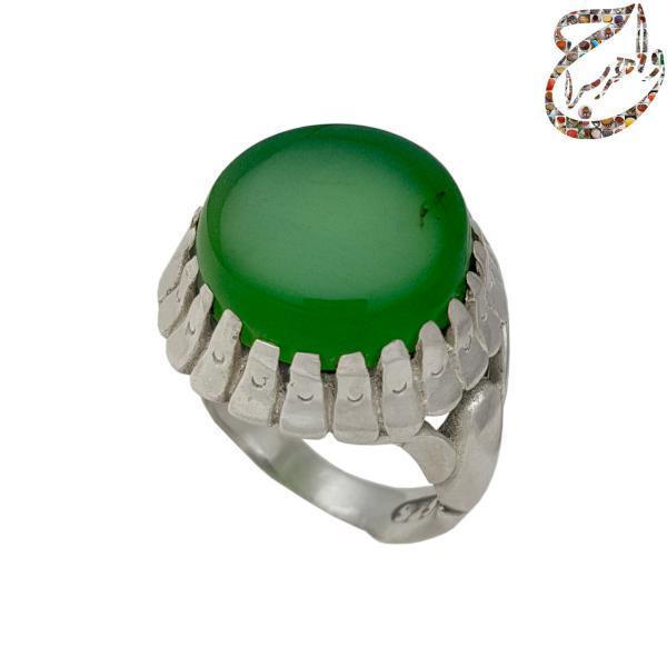 عقیق سبز معدنی رکاب نقره
