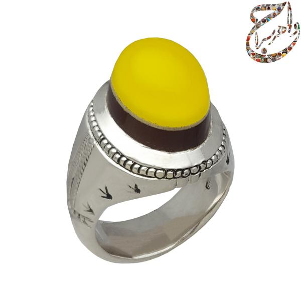 انگشتر عقیق سرخ و زرد رکاب سیّد