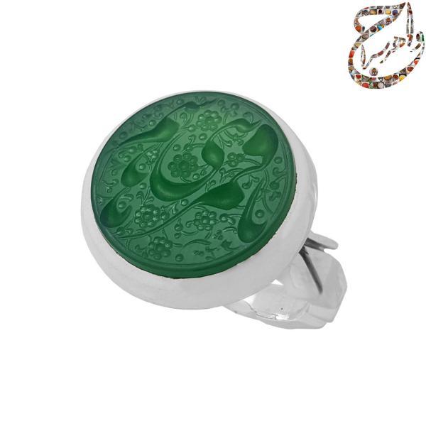 انگشتر عقیق سبز خطی رکاب دست ساز