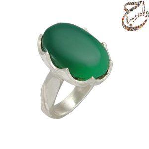 انگشتر عقیق سبز رکاب دست ساز