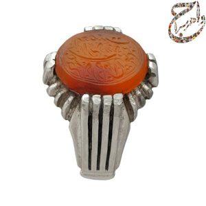 انگشتر عقیق کهنه یمنی پرتقالی چپ کنی