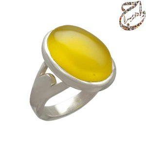 انگشتر عقیق زرد افریقایی اعلاء رکاب دست ساز