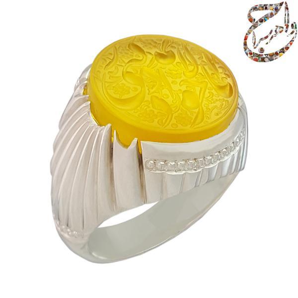 انگشتر عقیق زرد خطی دست ساز
