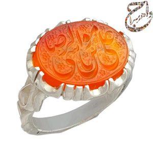 انگشتر عقیق پرتقالی دست ساز