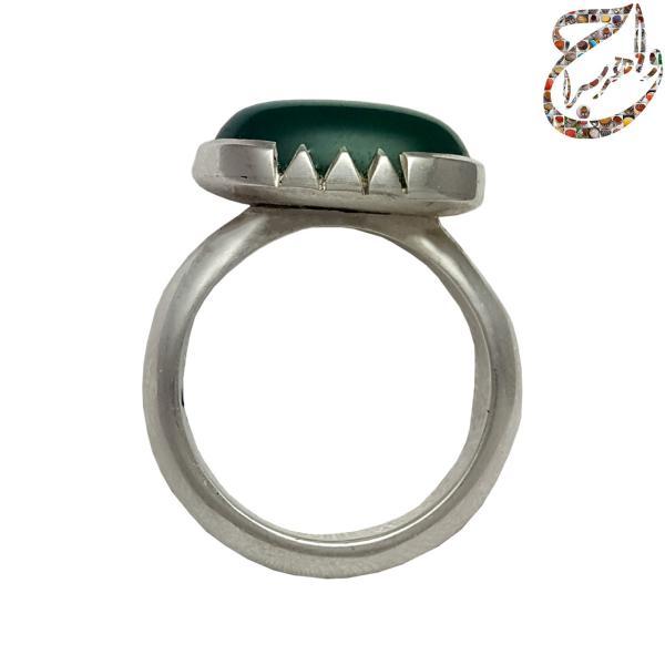 انگشتر زنانه عقیق سبز رکاب نقره دست ساز