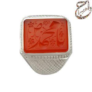 انگشتر عقیق سرخ خط حم مزین به ذکر یا محمد