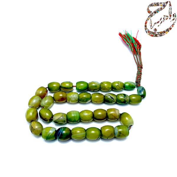 تسبیح فاخر عقیق سبز سلیمانی 33 عددی